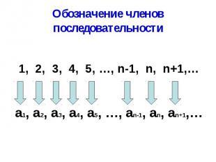 Обозначение членов последовательности
