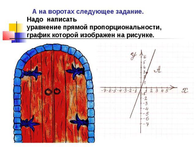 А на воротах следующее задание.Надо написатьуравнение прямой пропорциональности, график которой изображен на рисунке.