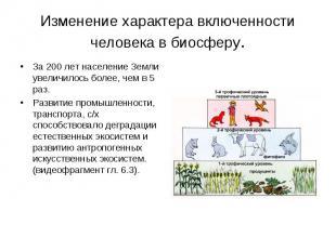 Изменение характера включенности человека в биосферу. За 200 лет население Земли