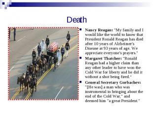 """Death Nancy Reagan: """"My family and I would like the world to know that President"""