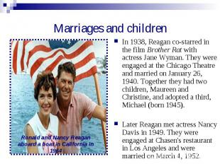 Marriages and children In 1938, Reagan co-starred in the film Brother Rat with a