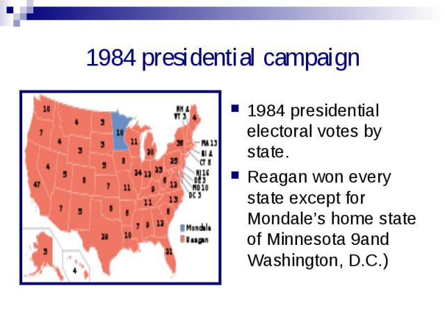 1984 presidential campaign 1984 presidential electoral votes by state.Reagan won every state except for Mondale's home state of Minnesota 9and Washington, D.C.)