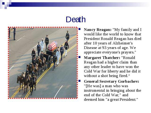 Death Nancy Reagan: