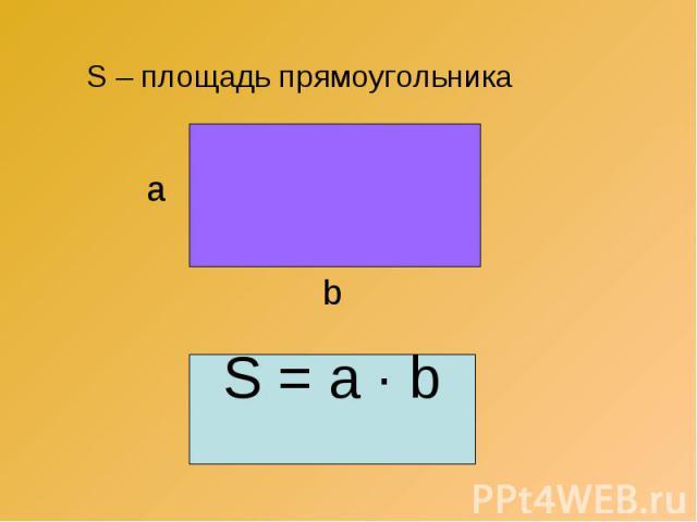 S – площадь прямоугольника