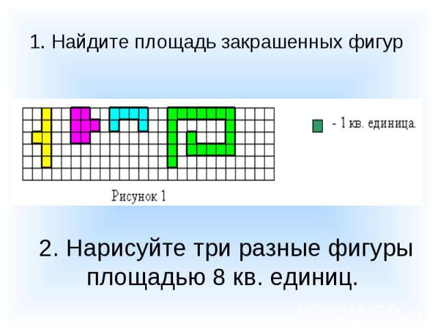 1. Найдите площадь закрашенных фигур 2. Нарисуйте три разные фигуры площадью 8 кв. единиц.