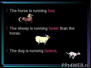 The horse is running fast.The sheep is running faster than the horse.The dog is