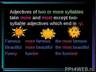 Adjectives of two or more syllables take more and most except two-syllable adjec