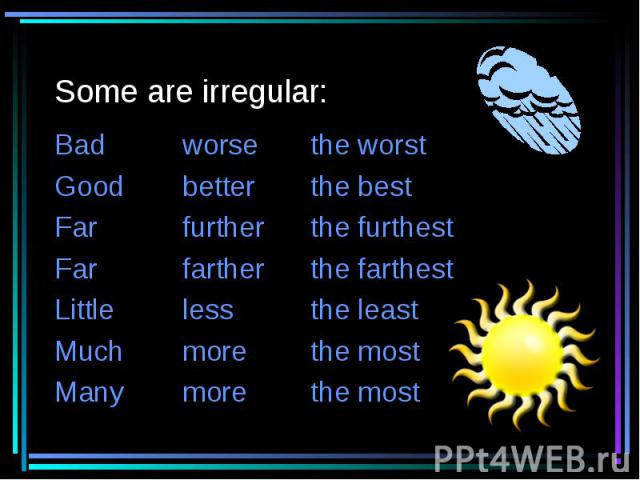 Some are irregular: Badworsethe worstGoodbetterthe bestFarfurtherthe furthestFarfartherthe farthestLittlelessthe leastMuchmorethe mostManymorethe most