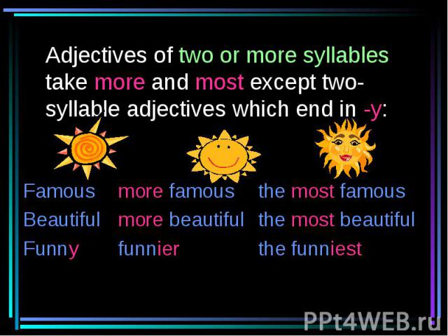 Adjectives of two or more syllables take more and most except two-syllable adjectives which end in -y: Famous more famous the most famousBeautiful more beautiful the most beautifulFunny funnier the funniest