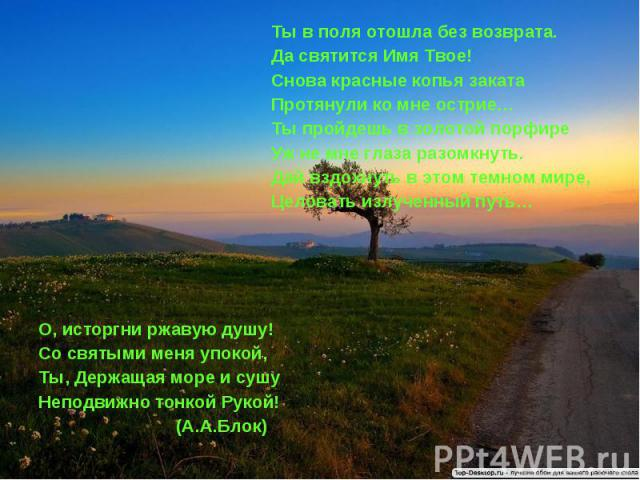 Ты в поля отошла без возврата.Да святится Имя Твое!Снова красные копья закатаПротянули ко мне острие…Ты пройдешь в золотой порфире Уж не мне глаза разомкнуть.Дай вздохнуть в этом темном мире,Целовать излученный путь…О, исторгни ржавую душу!Со святым…