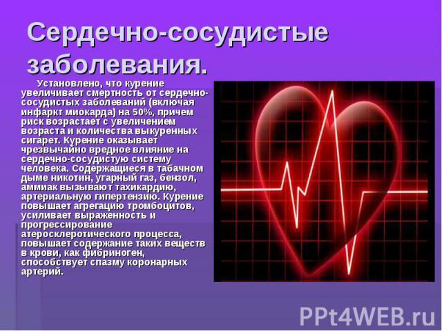Сердечно-сосудистые заболевания. Установлено, что курение увеличивает смертность от сердечно-сосудистых заболеваний (включая инфаркт миокарда) на 50%, причем риск возрастает с увеличением возраста и количества выкуренных сигарет. Курение оказывает ч…