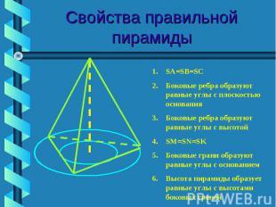 Свойства правильной пирамиды SA=SB=SCБоковые ребра образуют равные углы с плоско