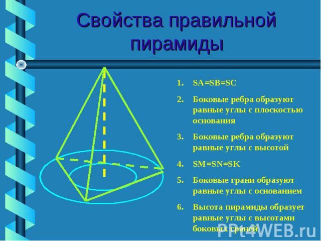 Свойства правильной пирамиды SA=SB=SCБоковые ребра образуют равные углы с плоскостью основанияБоковые ребра образуют равные углы с высотойSM=SN=SKБоковые грани образуют равные углы с основаниемВысота пирамиды образует равные углы с высотами боковых граней