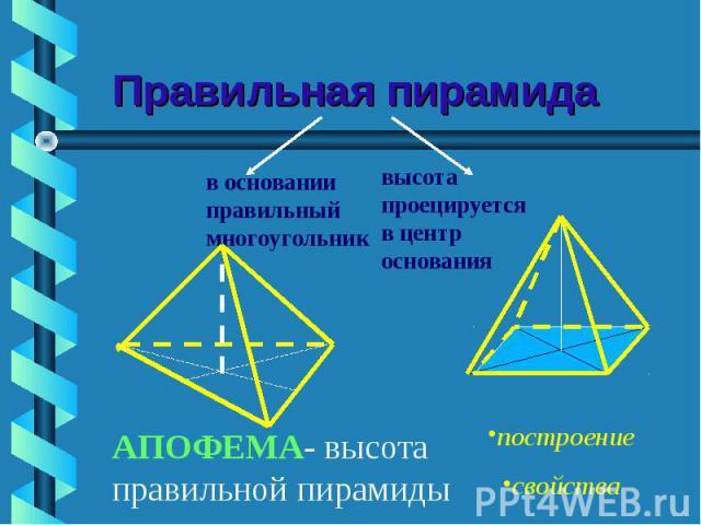 Правильная пирамида в основании правильный многоугольниквысота проецируется в центр основанияАПОФЕМА- высота правильной пирамиды