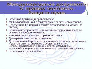 Международные документыо правах человека.Защита прав. Всеобщая Декларация прав ч