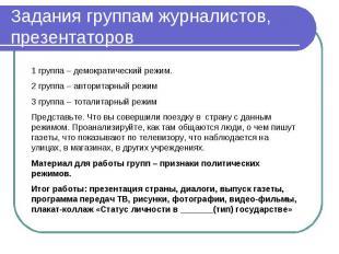 Задания группам журналистов, презентаторов 1 группа – демократический режим.2 гр