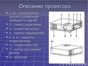 Описание проектора 1, 10 – сенсор дистан-ционного управления (передний и задний)