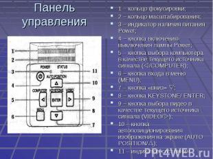 Панель управления 1 – кольцо фокусировки;2 – кольцо масштабирования;3 – индикато