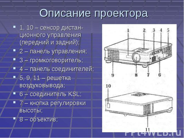 Описание проектора 1, 10 – сенсор дистан-ционного управления (передний и задний);2 – панель управления;3 – громкоговоритель;4 – панель соединителей;5, 9, 11 – решетка воздуховывода;6 – соединитель KSL;7 – кнопка регулировки высоты;8 – объектив;
