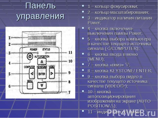 Панель управления 1 – кольцо фокусировки;2 – кольцо масштабирования;3 – индикатор наличия питания Power;4 – кнопка включения-выключения лампы Power;5 – кнопка выбора компьютера в качестве текущего источника сигнала (/COMPUTER);6 – кнопка входа в мен…