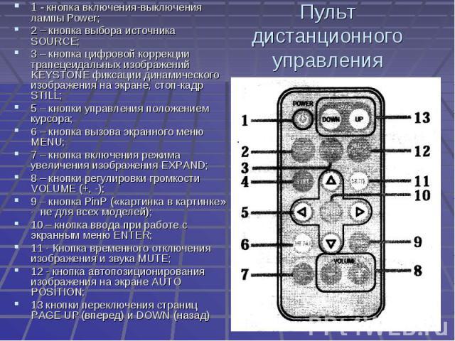 Пульт дистанционного управления 1 - кнопка включения-выключения лампы Power;2 – кнопка выбора источника SOURCE;3 – кнопка цифровой коррекции трапецеидальных изображений KEYSTONE фиксации динамического изображения на экране, стоп-кадр STILL;5 – кнопк…