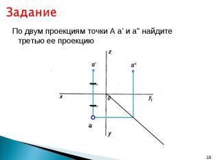 """Задание По двум проекциям точки А а' и а"""" найдите третью ее проекцию"""