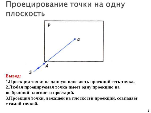Проецирование точки на одну плоскость Вывод:Проекция точки на данную плоскость проекций есть точка.Любая проецируемая точка имеет одну проекцию на выбранной плоскости проекций.Проекция точки, лежащей на плоскости проекций, совпадает с самой точкой.
