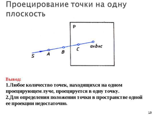 Проецирование точки на одну плоскость Вывод:Любое количество точек, находящихся на одном проецирующем луче, проецируется в одну точку.Для определения положения точки в пространстве одной ее проекции недостаточно.