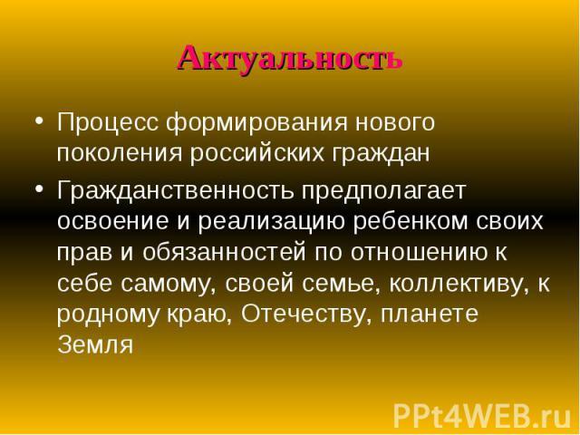 Актуальность Процесс формирования нового поколения российских граждан Гражданственность предполагает освоение и реализацию ребенком своих прав и обязанностей по отношению к себе самому, своей семье, коллективу, к родному краю, Отечеству, планете Земля