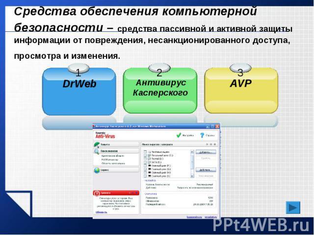Средства обеспечения компьютерной безопасности – средства пассивной и активной защиты информации от повреждения, несанкционированного доступа, просмотра и изменения.