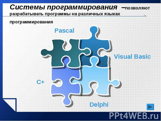 Системы программирования –позволяют разрабатывать программы на различных языках программирования