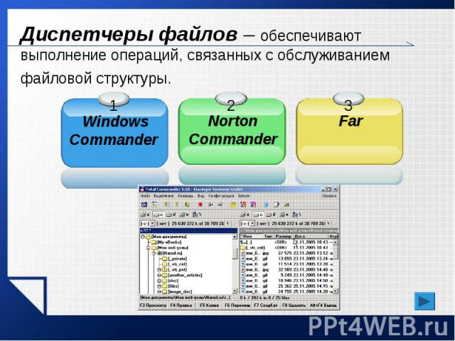 Диспетчеры файлов – обеспечивают выполнение операций, связанных с обслуживанием файловой структуры.