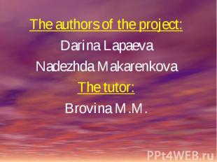 The authors of the project:Darina LapaevaNadezhda MakarenkovaThe tutor:Brovina M