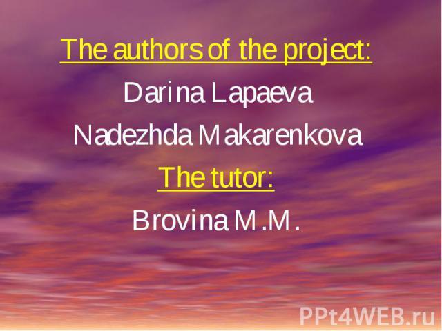 The authors of the project:Darina LapaevaNadezhda MakarenkovaThe tutor:Brovina M.M.