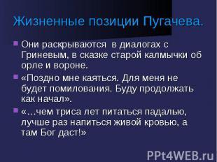 Жизненные позиции Пугачева. Они раскрываются в диалогах с Гриневым, в сказке ста