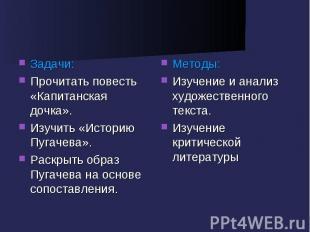 Задачи:Прочитать повесть «Капитанская дочка».Изучить «Историю Пугачева».Раскрыть