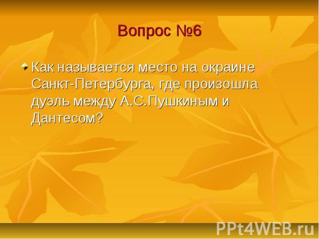 Вопрос №6 Как называется место на окраине Санкт-Петербурга, где произошла дуэль между А.С.Пушкиным и Дантесом?