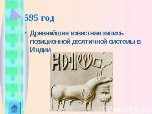 595 год Древнейшая известная запись позиционной десятичной системы в Индии