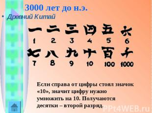 3000 лет до н.э.Древний Китай Если справа от цифры стоял значок «10», значит циф