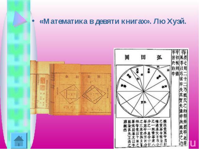 «Математика в девяти книгах». Лю Хуэй.
