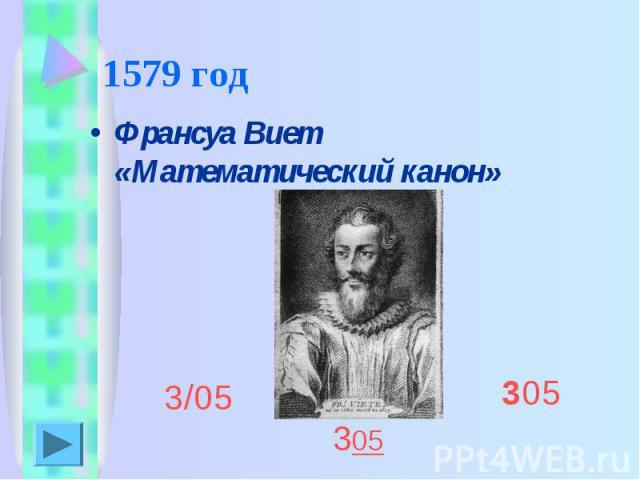 1579 год Франсуа Виет «Математический канон»