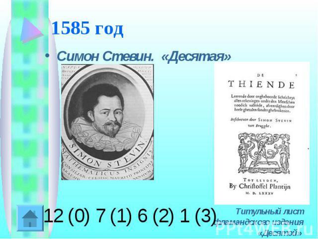 1585 год Симон Стевин. «Десятая» Титульный лист фламандского издания «Десятой»