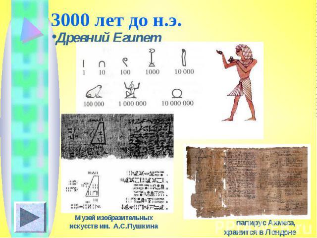 3000 лет до н.э.Древний Египет Музей изобразительных искусств им. А.С.Пушкинапапирус Ахмеса, хранится в Лондоне