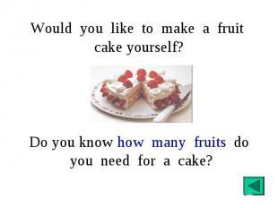 Would you like to make a fruit cake yourself? Do you know how many fruits do you
