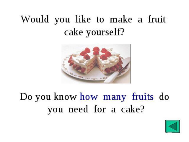Would you like to make a fruit cake yourself? Do you know how many fruits do you need for a cake?