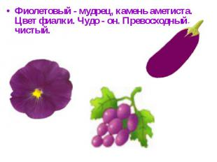 Фиолетовый - мудрец, камень аметиста.Цвет фиалки. Чудо - он. Превосходный, чисты