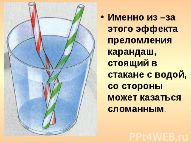 Именно из –за этого эффекта преломления карандаш, стоящий в стакане с водой, со стороны может казаться сломанным.