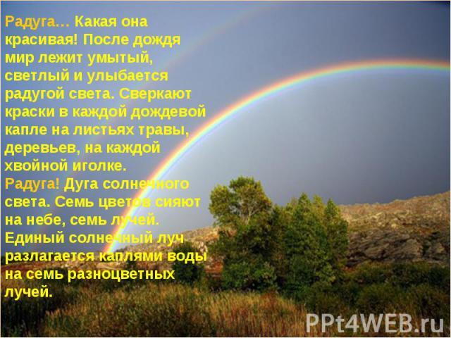 Радуга… Какая она красивая! После дождя мир лежит умытый, светлый и улыбается радугой света. Сверкают краски в каждой дождевой капле на листьях травы, деревьев, на каждой хвойной иголке.Радуга! Дуга солнечного света. Семь цветов сияют на небе, семь …