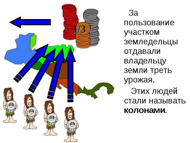 За пользование участком земледельцы отдавали владельцу земли треть урожая. Этих людей стали называть колонами.