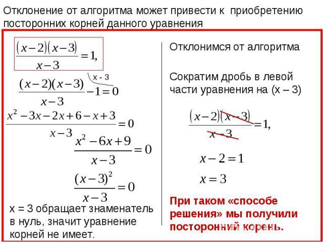 Отклонение от алгоритма может привести к приобретению посторонних корней данного уравнения